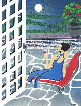 Woman on the Patio Moonlit Evening by MJ Cincotta