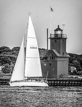 Evening Sail At Holland Light - BW by Nick Zelinsky