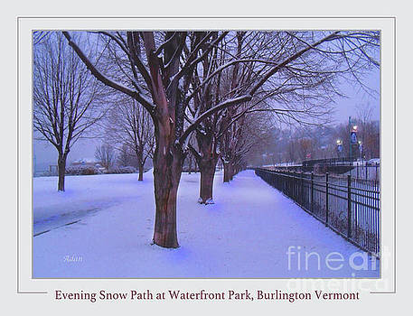 Felipe Adan Lerma - Evening Snow Path at Waterfront Park Burlington Vermont Poster Greeting Card
