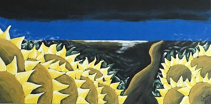 Evening Sunflowers by Heidi Moss