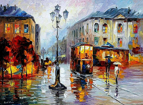 Evening-Trolley On The Square - PALETTE KNIFE Oil Painting On Canvas By Leonid Afremov by Leonid Afremov