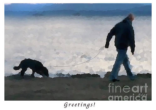 Felipe Adan Lerma - Evening Walk Along Lake Champlain - Greeting Card and Poster