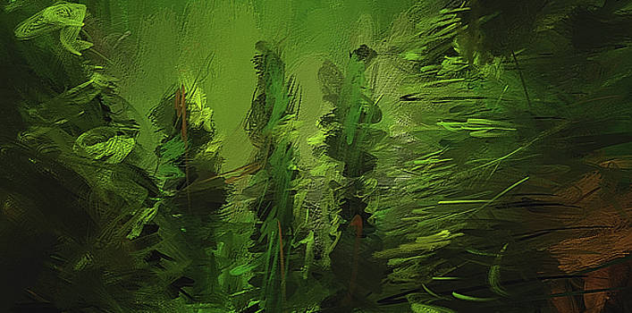 Evergreens - Green Abstract Art by Lourry Legarde