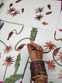 Exotic Brahma Kamal Floral Art in Progress by Rizwana Mundewadi