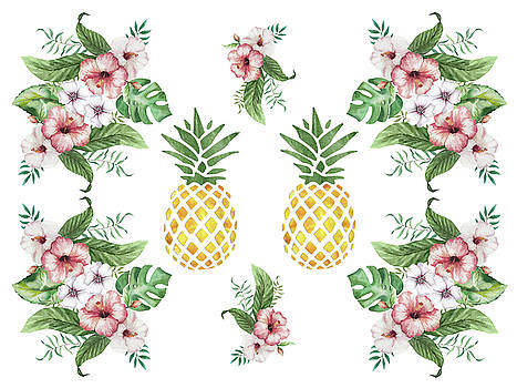 Exotic Hawaiian Flowers and Pineapple by Georgeta Blanaru