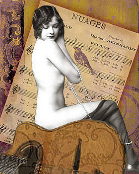 Exotic Vintage Nude on Guitar and Nuages Sheet Music by Christina Fajardo