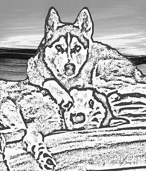 Expressive Huskies Mixed Media G51816_e by Mas Art Studio