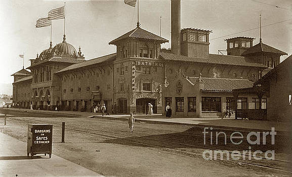 Exterior view of the bathhouse at Redondo Beach, ca.1915 by California Views Mr Pat Hathaway Archives