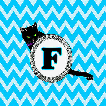 F Cat Chevron Monogram by Paintings by Gretzky