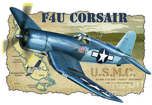 F4U Corsair Pappy Boyington by Stu Shepherd