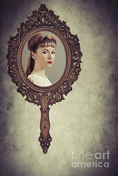 Face In Antique Mirror by Amanda Elwell