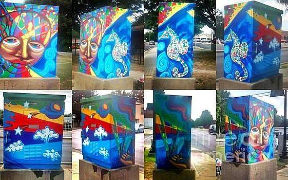 Face With Seahors Five Senses Traffic Signal Box For University City by Genevieve Esson