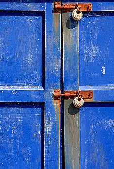 Faded Blue Door Locks by Darren Kearney