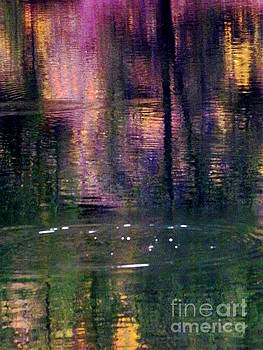 Fading ripple in colorful reflection by Annie Gibbons