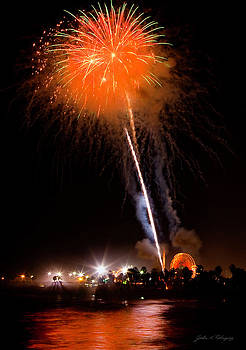 Fireworks As Seen From The Ventura California Pier by John A Rodriguez