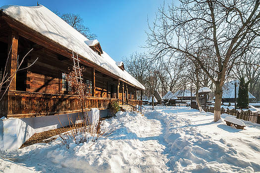 Fairy Tale Winter View at the Village Museum in Bucharest by Daniela Constantinescu