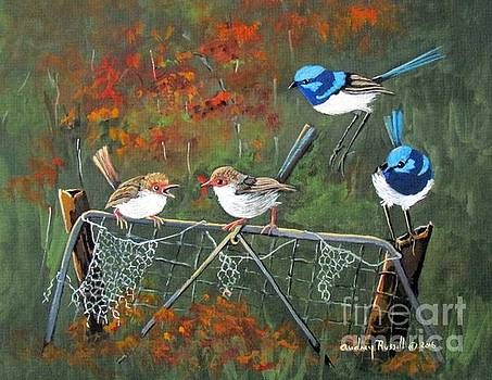 Fairy Wrens in the Autumn by Audrey Russill
