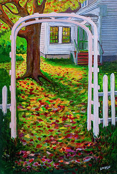 Fall Arbor, Green Point, Phittsburg, Maine Acrylic on paper 18  by Dave Higgins