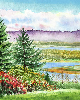 Fall At The River Watercolor Landscape  by Irina Sztukowski