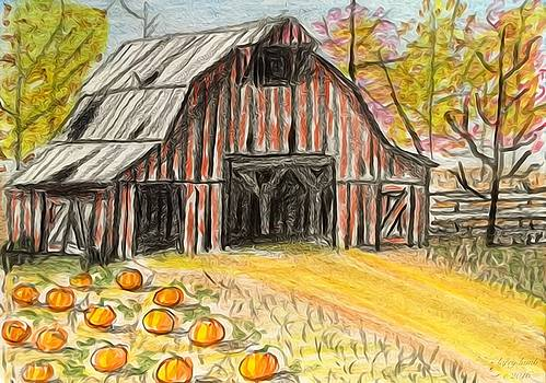 Larry E Lamb - Fall barn pumpkin patch