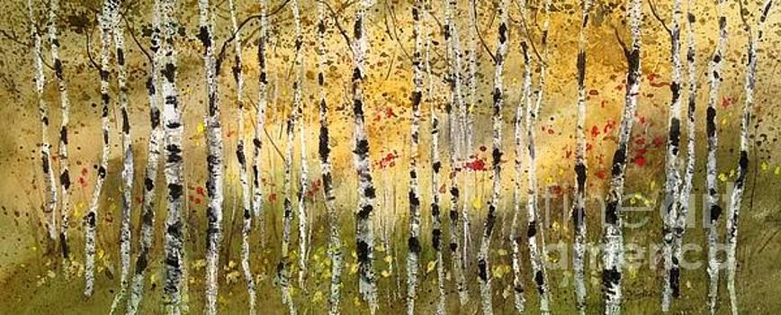 Fall Birch Panorama by Diane Splinter