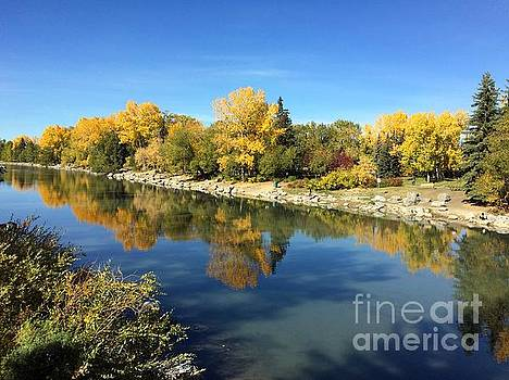 Fall colors on the bank of bow river in Calgary by Akshay Thaker-PhotOvation