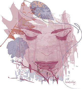 Pink and blue Fall Face with leaves by Lisa Henderling