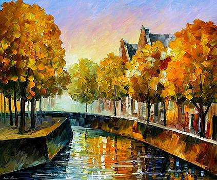 Fall In Amsterdam - PALETTE KNIFE Oil Painting On Canvas By Leonid Afremov by Leonid Afremov