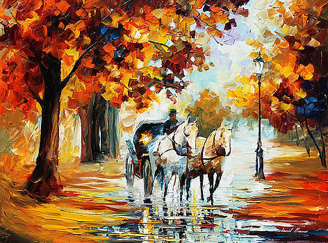 Fall Journey - PALETTE KNIFE Oil Painting On Canvas By Leonid Afremov by Leonid Afremov