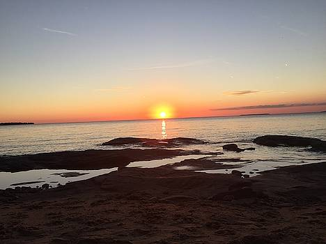 Fall Lake Superior Sunset by Paula Brown
