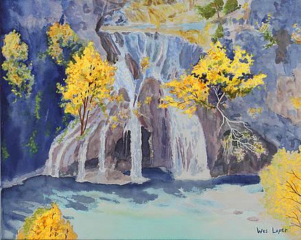 Fall morning in Oklahoma at Turner Falls   by Wes Loper