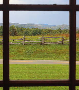 Fall Mountains Through The Window  by Cathy Lindsey