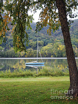 Fall Sailboat at East Lake Winona Minnesota by Kari Yearous