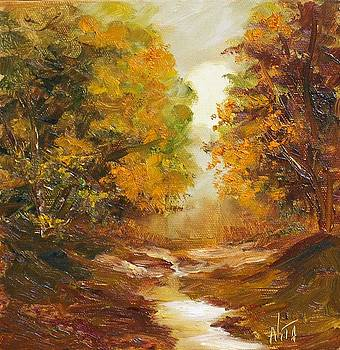 Fall woodland stream by Nita Leger Casey