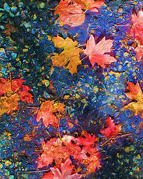 Falling Blue Leave by Marilyn Sholin