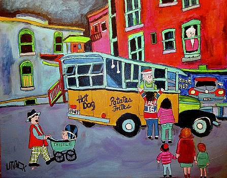 Family at the Chip Wagon 1947 by Michael Litvack