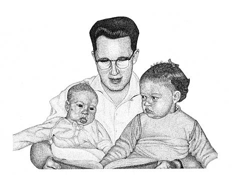 Family in Pointillism by Gerald Lynch