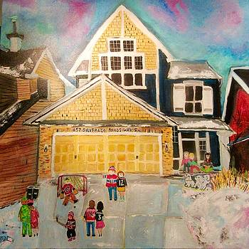 Family Hockey Game in Calgary by Michael Litvack