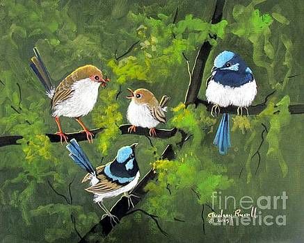 Family of Fairy Wrens with one chick by Audrey Russill