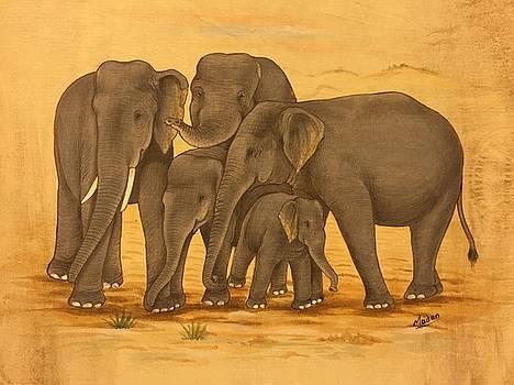 Family reunion of elephants  by Madan