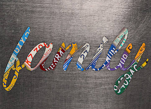 Family Wording Sign License Plate Art Letters on Aluminum Recycled Sheet by Design Turnpike
