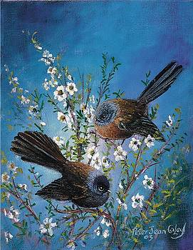 Fantails on Manuka by Peter Jean Caley