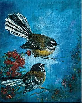 Fantails on Rata by Peter Jean Caley
