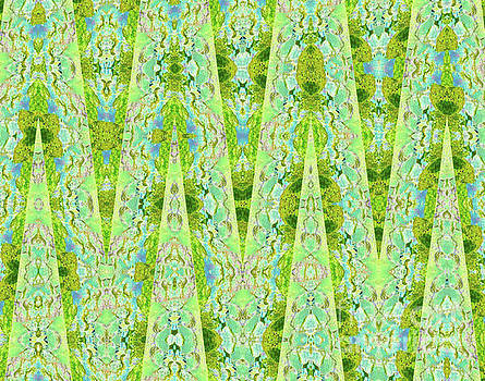 Fantasy Lime Forest Tapestry by Ann Johndro-Collins