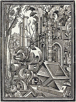 Lorenz Stor - Fantasy of Perspectival Forms Set among Ruins