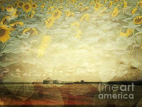 Farm and Sunflowers Double Exposure by Iryna Liveoak