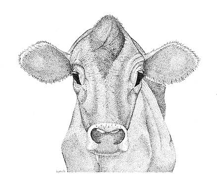Farm Cow in Pointillism by Gerald Lynch
