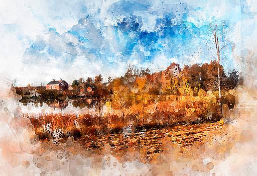 Farm Fall Colors Watercolor by Michael Colgate