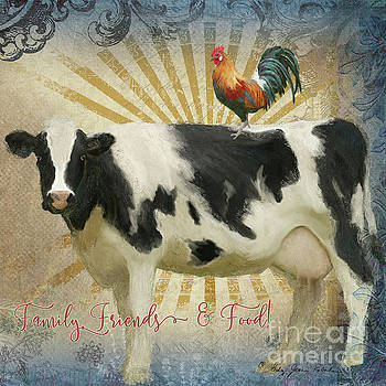 Farm Fresh Barnyard Animals Cow Rooster Typography by Audrey Jeanne Roberts