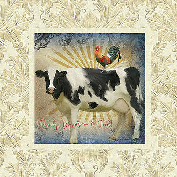 Farm Fresh Damask Milk Cow Red Rooster Sunburst Family n Friends by Audrey Jeanne Roberts